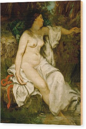 Bather Sleeping By A Brook Wood Print by Gustave Courbet