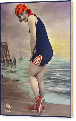 Bathing Beauty In Orange And Navy Bathing Suit Wood Print