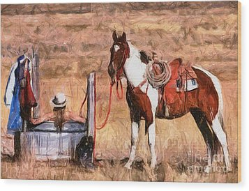 Bathing Cowgirl Wood Print by Murphy Elliott