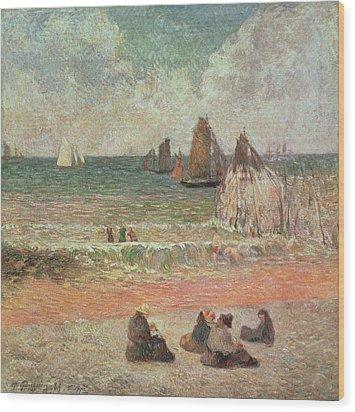 Bathing Dieppe Wood Print by Paul Gauguin