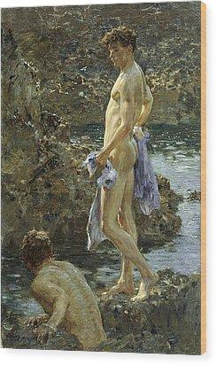 Bathing Group Of 1914 Wood Print by Henry Scott Tuke