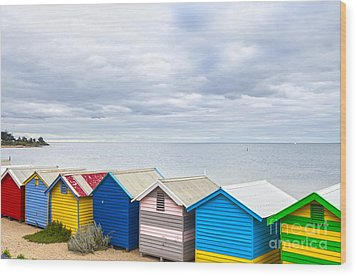 Bathing Huts Brighton Beach Melbourne Australia Wood Print by Colin and Linda McKie