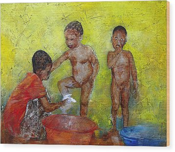 Bathing Time Wood Print by Ronex Ahimbisibwe