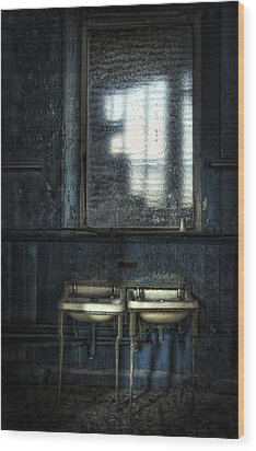 Bathroom Blues Wood Print