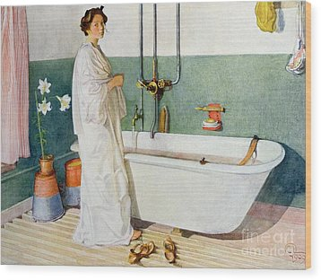 Bathroom Scene Lisbeth Wood Print by Carl Larsson