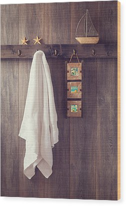 Bathroom Wall Wood Print by Amanda Elwell