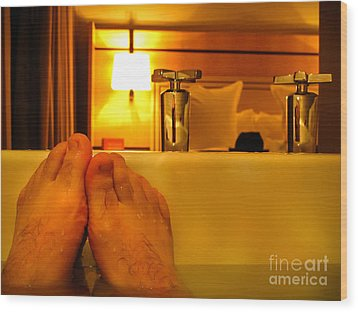 Bathtub Fun Wood Print by Kip Krause