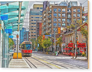 Bathurst Street Car Coming North To Queen Street Wood Print by Nina Silver