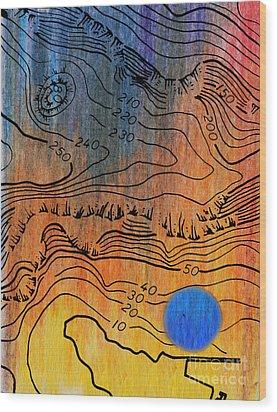 Bathymetry Wood Print by R Kyllo