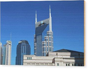Batman Building And Nashville Skyline Wood Print by Dan Sproul