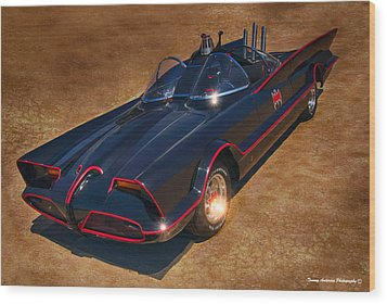 Batmobile Wood Print by Tommy Anderson