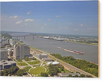 Baton Rouge's Mississippi River Wood Print by Helen Haw