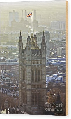 Battersea Power Station And Victoria Tower London Wood Print