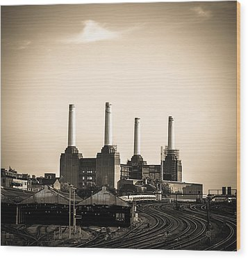 Battersea Power Station With Train Tracks Wood Print