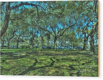 Battery Live Oaks Wood Print