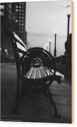 Battery Park Bench Wood Print by Isaac Silman