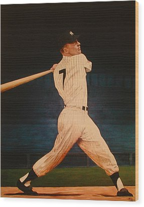 Batting Practice - Mickey Mantle Wood Print