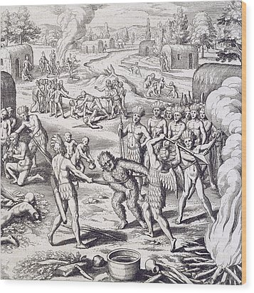 Battle Between Tuppin Tribes Wood Print by Theodore De Bry