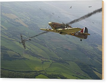 Battle Of Britain Dogfight Wood Print by Gary Eason