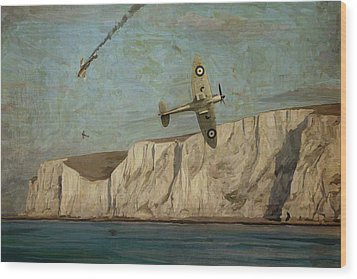 Wood Print featuring the painting Battle Of Britain Over Dover by Nop Briex