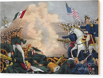 Battle Of Buena Vista Mexican-american Wood Print by Photo Researchers
