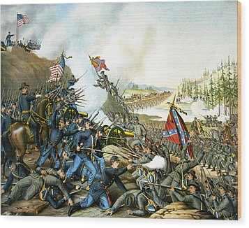 Battle Of Franklin Wood Print by Unknown