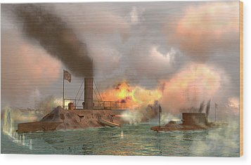 Battle Of The Ironclads Wood Print by Walter Colvin