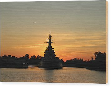 Wood Print featuring the photograph Battleship At Sunset by Cynthia Guinn