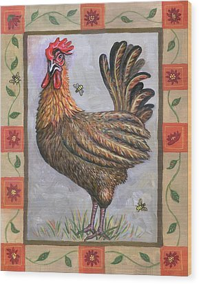 Baxter The Rooster Wood Print by Linda Mears