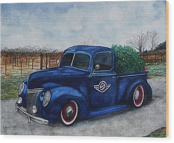 Baxter Truck Wood Print by Stacey Pilkington-Smith
