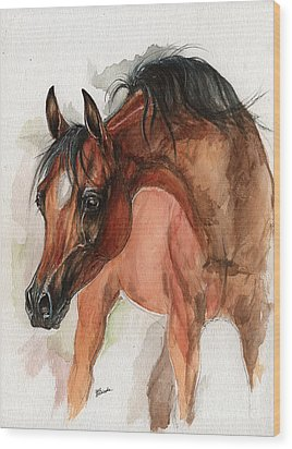 Bay Arabian Foal Watercolor Portrait Wood Print by Angel Ciesniarska