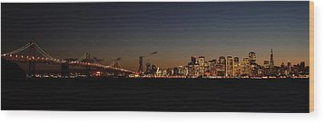 Bay Bridge And City Skyline Wood Print