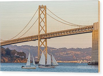 Bay Bridge Gold Wood Print by Kate Brown
