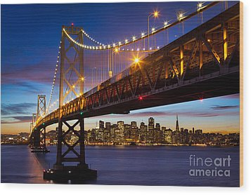 Bay Bridge Wood Print by Inge Johnsson