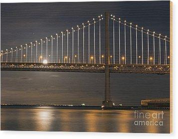 Bay Bridge Moon Rising Wood Print