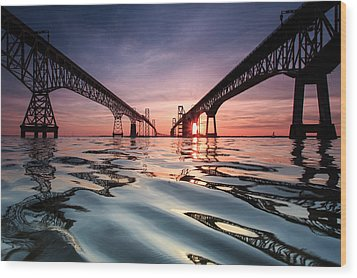 Bay Bridge Reflections Wood Print by Jennifer Casey