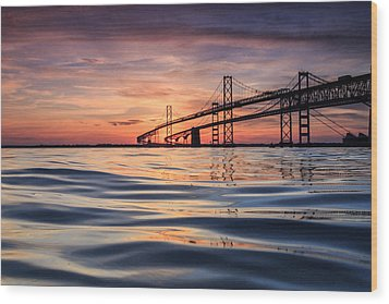 Bay Bridge Silk Wood Print by Jennifer Casey