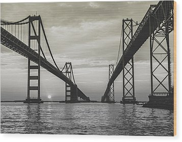Bay Bridge Strong Wood Print by Jennifer Casey