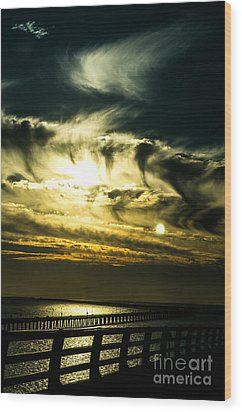 Wood Print featuring the photograph Bay Bridge Sunset by Angela DeFrias