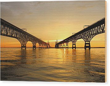 Bay Bridge Sunset Wood Print by Jennifer Casey
