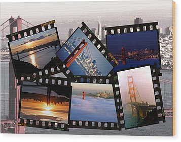 Wood Print featuring the photograph Golden Gate Collage by Christopher McKenzie