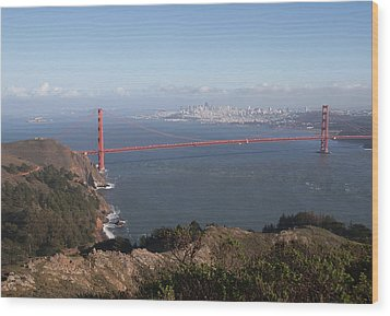 Bay From Marin Wood Print by Alison Miles