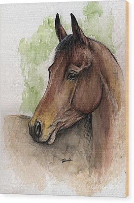 Bay Horse Portrait Watercolor Painting 02 2013 A Wood Print by Angel  Tarantella