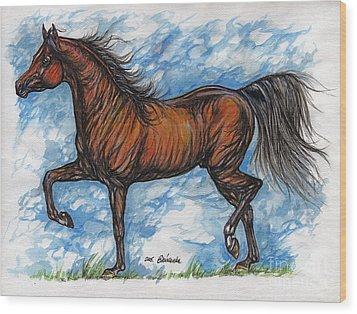 Bay Horse Running Wood Print by Angel  Tarantella