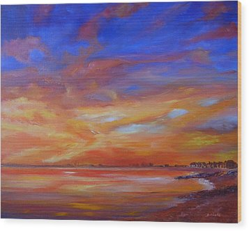 Bay Of Hythe On Fire Wood Print