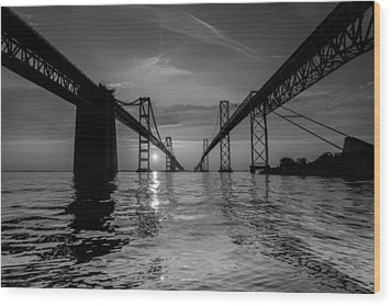 Bay Bridge Strength Wood Print by Jennifer Casey