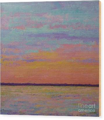 Bay Sunset Wood Print