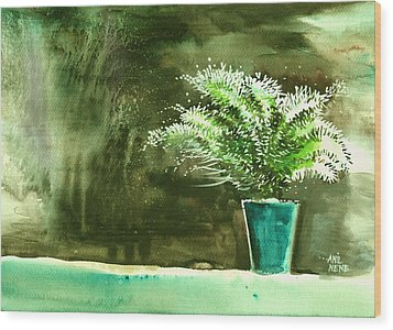 Bay Window Plant Wood Print by Anil Nene