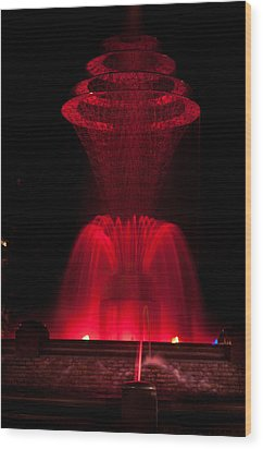 Bayliss Park Fountain Red Wood Print by Becky Meyer