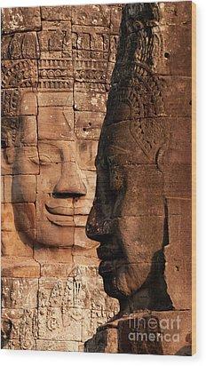 Bayon Faces 02 Wood Print